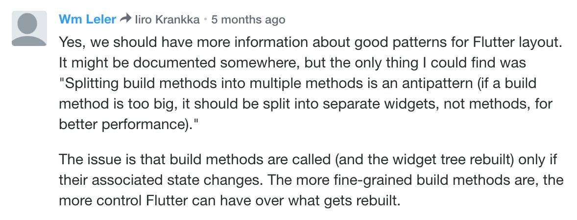 Splitting widgets to methods is a performance antipattern